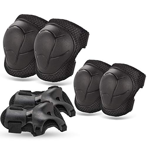 BOSONER Kids/Youth Knee Pad Elbow Pads Guards Protective Gear Set for Roller Skates Cycling BMX Bike Skateboard Inline Skatings Scooter Riding Sports (Black)