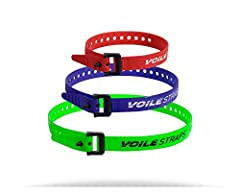 "Variety Pack includes 1 - Red 15"" Voile Strap, 1 - Blue 20"" Voile Strap, and 1 - Green 25"" Voile Strap. All are nylon buckle version. One Strap. A Million Uses. Secure, bundle, and repair almost anything outdoors."