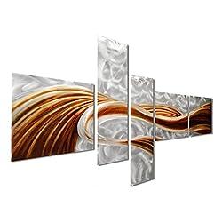 """Pure Art Caramel Desire Contemporary Metal Artwork - Large Modern Abstract Wall Art Decor Sculpture - Set of 5 Panels 69"""" x 40"""""""