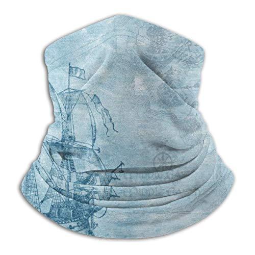 SARA NELL Ship Boat Anchor Compass Nautical Adventure Neck Gaiter Face Mask, Sun Guard, Balclava With Sun Protection For Dust, Outdoors, Sun, Sports, Military