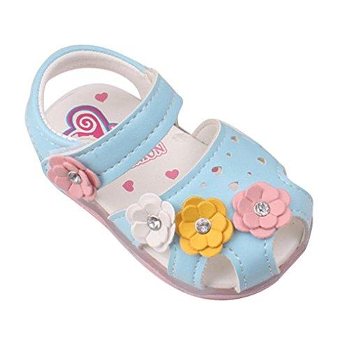 Amlaiworld Babyschuhe, Kleinkind Blumen Mädchen Sandalen beleuchtet weichen Sohlen Prinzessin Baby Schuhe (19, blau)