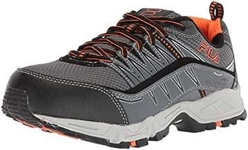 Fila mens Memory at Peak Composite Toe Trail Running Food Service Shoe, Castlerock/Black/Vibrant Orange, 10.5 US