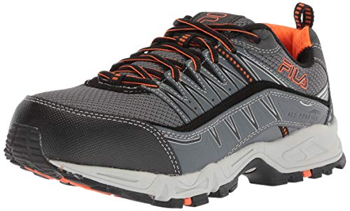 Fila Men's Memory at Peak Composite Toe Trail Running Shoe Food Service, Castlerock/Black/Vibrant Orange, 9 D US