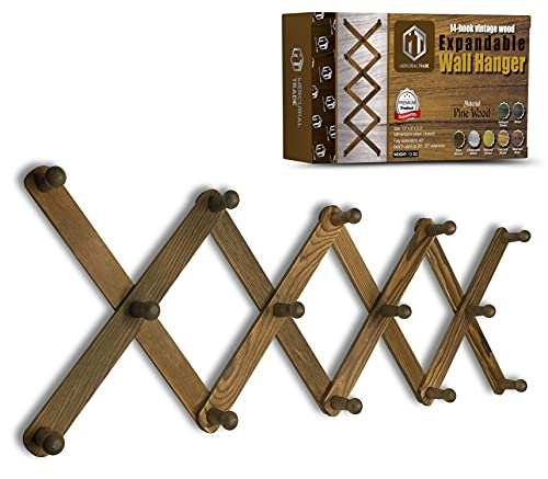 Mercurial Trade Expandable Wooden Coat Rack Hanger – Accordion Wall Mounted Pine Wood Hooks – Hand Made Vintage Expending Pegs – Hang Coat, Jacket, Hat, Leash, Towel, Scarf, Bag - Dark Walnut