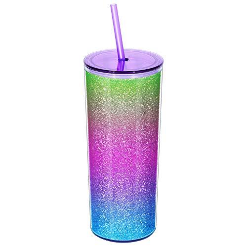 Rainbow Tumbler with Straw, Sand Fl…