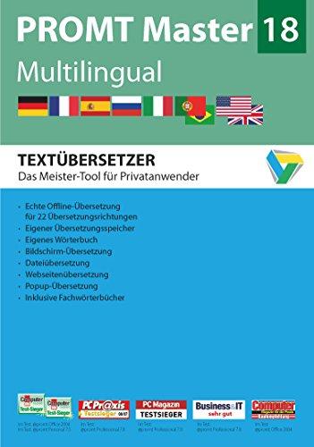 PROMT Master 18 Multilingual: Preisgekröntes Übersetzungsprogramm mit intelligenter Textanalyse für Deutsch, Englisch, Französisch, Spanisch, ... 7, 8 und 10. (PROMT Übersetzungssoftware)
