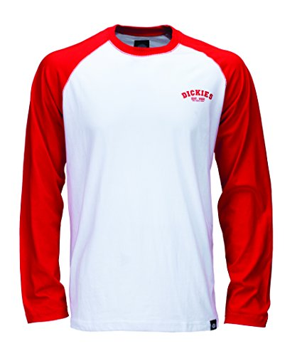 Dickies Herren Langarmshirt Streetwear Male T-Shirt Baseball rot (Fiery Red) Small