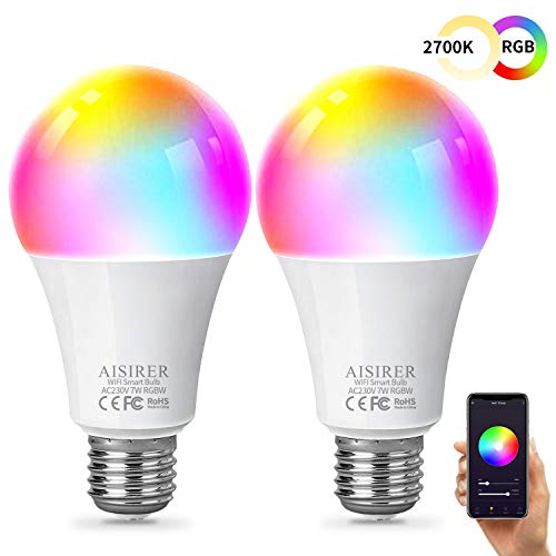 AISIRER Bombilla Inteligente Bombilla WiFi LED Blanco Suave 2700K+ RGBW Multicolor Compatible con Amazon Alexa Echo,Echo Dot Google Home No se requiere hub Regulable E27 (paquete de 2)