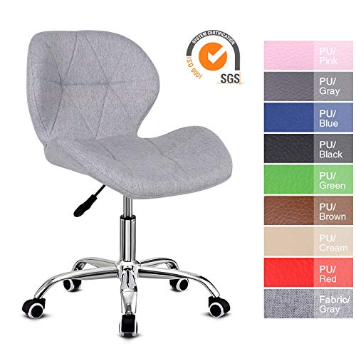 EUCO Grey Desk Chair,Comfy Fabric Computer Chair Adjustable Height Office Chair with Chrome Base Padded Swivel Chair,Home/Office Furniture