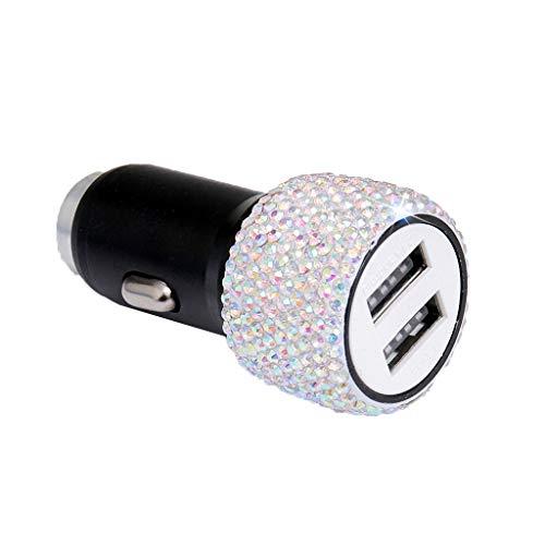 ZIRAN Cargador de Coche USB Dual Bling Bling Rhinestones Hechos a Mano Decoraciones de Coche de Cristal para decoración de Coche de Carga rápida