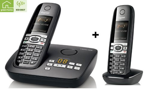 Siemens Gigaset CX610A + C610H DUO ISDN Schnurlostelefon MIT Anrufbeantworter schwarz
