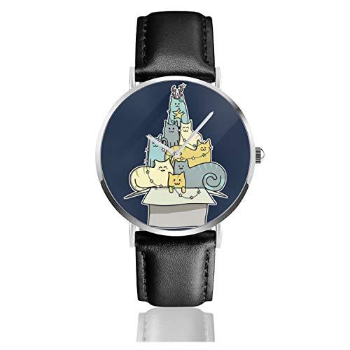 Unisex Business Casual Kawaii Katze Weihnachtsbaum Uhren Quarz Leder Uhr mit schwarzem Lederband für Männer Frauen Junge Kollektion Geschenk