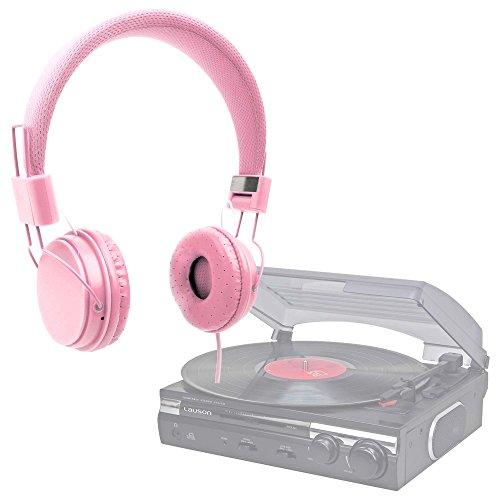 DURAGADGET Auriculares De Diadema Color Rosa para Tocadiscos Lauson CL145 | Dual DT 210 USB | Sunstech PXRC5CDWD | 1byone | auna TT-30 BT | Lauson CL145 | Dual DT 210 USB Combinar con Su Móvil!