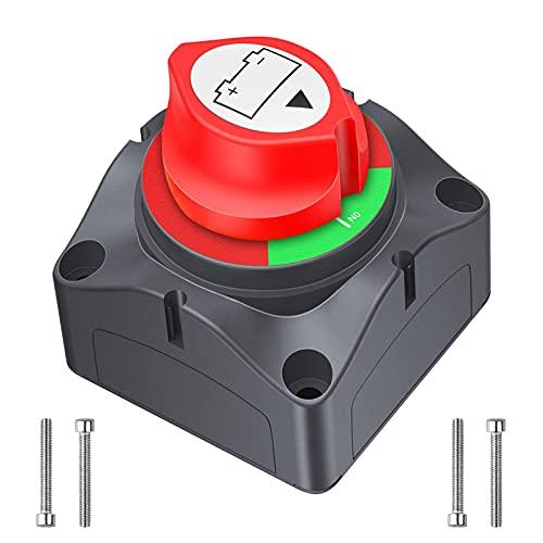 Batterie Trennschalter LEICESTERCN Batterieschalter 12V/24V Akku Power Cut Off Schalter 12V 275A Wasserdicht Hauptschalter für Auto LKW Boot Wohnwagen Motorrad (On-Off)