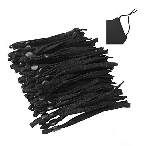 BZVlemon Sewing Elastic String for Masks-50 pcs Black Elastic Bands with Adjustable Buckle, 1/5 Inch Adjustment Elastic Ear Loop Strap Stretchy Cord Lock Earmuff Rope for Adult/Children