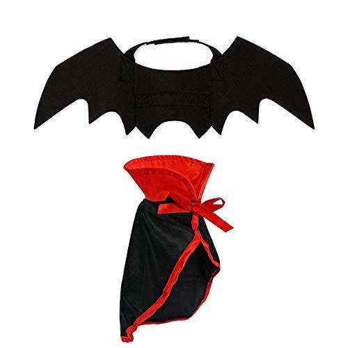 LAWOHO Halloween-Kostüm für Haustiere, Fledermausflügel und Umhang, Vampir, Cosplay, Kombination für kleine Katzen und Hunde, lustige Urlaubsdekoration, Kleidung für Halloween, blutige Zombie-Party