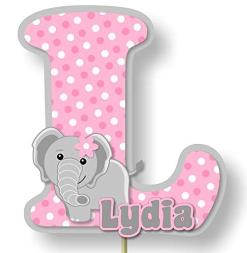 Personalized Pink Elephant Baby Shower or Birthday Cake Topper or...