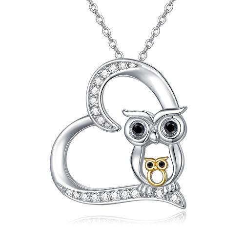 Eule Kette Damen, Igel Anhänger Halskette 925 Sterling Silber Herz Halsketten für Frauen Eulen Schmuck Geschenke für Mädchen Frauen Kinder
