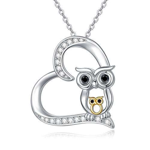 Owl Necklace, 925 Sterling Silver Heart Pendant Necklaces Gold Two Owls Jewellery Birthday Christmas Gifts for Women Daughter Mum Bestfriend