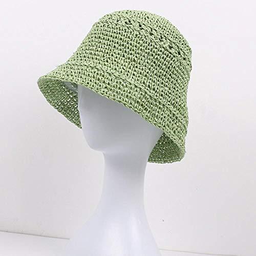 Sombrero para El Sol Beach Cap Mujeres Summer Sun Hat Packable Bucket Cap Ladies Crochet Sombrero De Paja Gorro De Pesca Transpirable Sombrero De Cubo Femenino M56-58Cm Verde