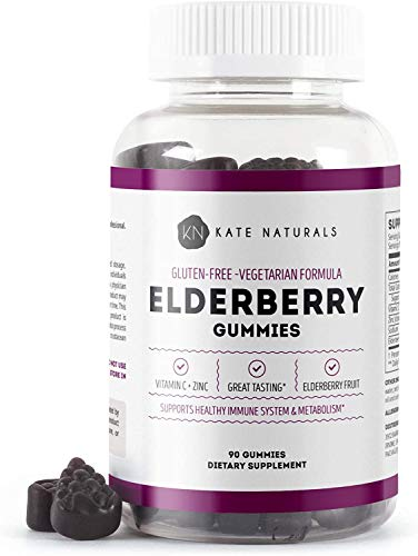 Elderberry Gummies for Adults & Kids (90 Gummies, 45 Days Supply) - Kate Naturals. Sambucus Nigra for Immune System Support. Has Vitamin C and Zinc. 90 Soft and Tasty Gummies