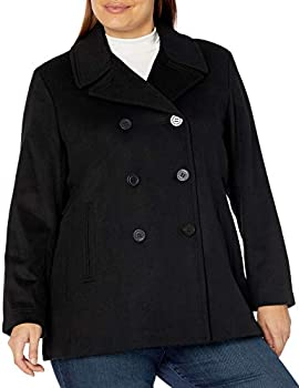 Calvin Klein Plus Sized Womens Double Breasted Peacoat BLK 1X