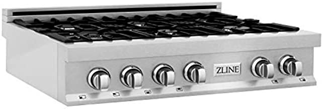 ZLINE 36 in. Porcelain Rangetop in Snow Stainless with 6 Gas Burners (RTS-36)