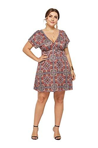 iYmitz Damen Plus Größe Blumenkleid Sommer Vintage Boho Ärmelloses Rock Beiläufige Rundhals Partykleid Trägerlosen Minikleid Tops