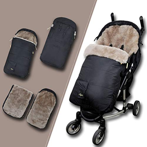 Eco-Friendly Supreme Australian Sheepskin Footmuff,Waterproof Stroller Lambskin Bunting Bags Universal Fits All Joggers Pushchairs,6-42M,Grey