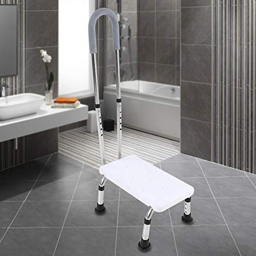 POCREATION Handy Support Step Stool, Non-Slip Footstool with Handrail and Non Skid Rubber Platform Home Bathroom Portable Lightweight Step with Handrail Bathroom Safety Step