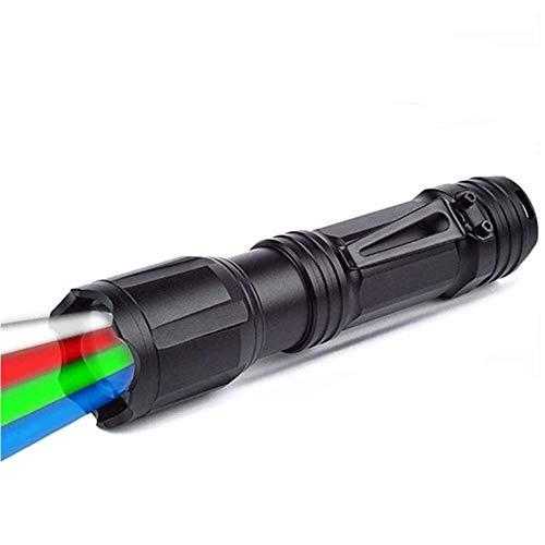 LUXJUMPER Multicolor LED Taktische Taschenlampe Zoombar 4 Farben in 1 Rot Grün Blau Weiß Nacht Jagd Licht Wasserdichte Hand Taschenlampe mit Clip für die Nachtjagd, Angeln