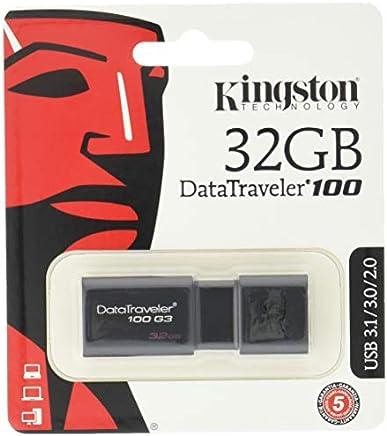 Kingston DT100G3/32GB DataTraveler 100 G3, USB 3.0, 3.1 Flash Drive, 32 GB, NOIR