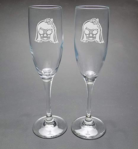LGBTQ Sugar Skull Champagne Flute Set two Brides