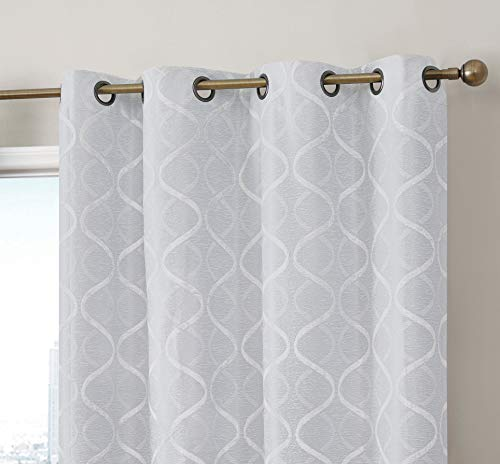 HLC.ME Versailles Lattice Flocked 100% Complete Blackout Thermal Insulated Window Curtain Grommet Panels - Energy Savings & Soundproof, For Living Room & Bedroom, Set of 2 (50 x 84 inches Long, Ivory)