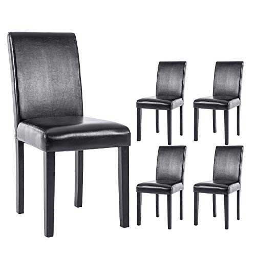Dining Chair PU Leather Living Room Chair Modern Kitchen Armless Side Black Chair with Solid Wood Legs(Set of 4) Black