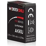 Wicked Chili Pro Series Akku kompatibel mit GoPro Hero3+ & Hero3 - Black/White/Silver Edition [ersetzt AHDBT-302 / AHDBT-301] (1180mA   3,7V   4,37Wh) bis zu 118 Minuten Videoaufnahme