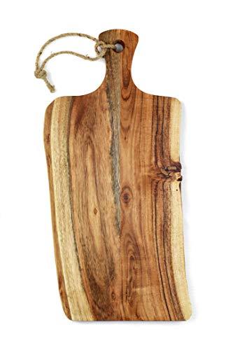 Schneidebrett aus Akazienholz | Hackbrett, Holz mit Griff und Aufhängung im Naturschnitt, rustikal | ca.45 x 20 x 2 cm groß und eine Schneidefläche von 35 x 20 cm | Antibakteriell