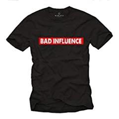MAKAYA Camiseta con Frases graciosas - Bad Influence - T-Shirt Divertidas Hombre