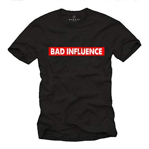 MAKAYA Camiseta con Frases graciosas - Bad Influence - T-Shirt Divertidas Hombre Negro M