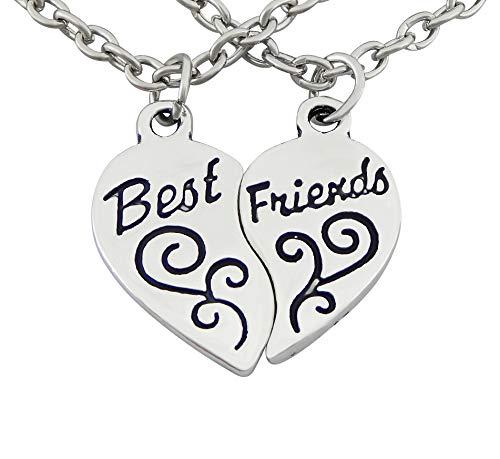Veuer Mädchen Schmuck für Damen Freundschaftskette 2 Ketten Best Friends Friend Herz Geschenk für die Freundin