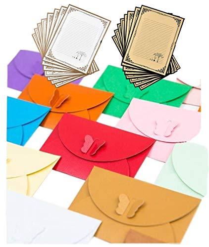 レター セット ( 蝶 封筒 × 7枚 / 便箋 × 16枚 ) 組み立て式 シンプル メッセージカード グリーティング カード 手紙 お礼