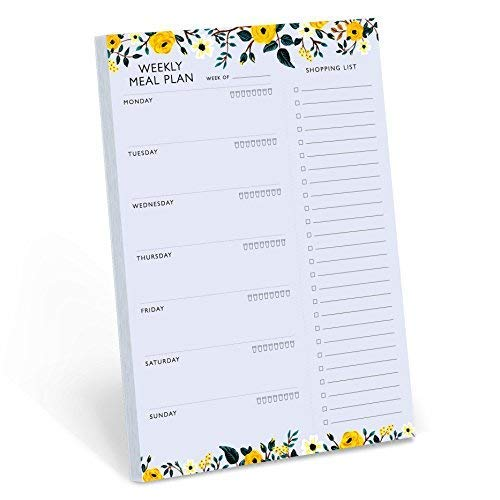 Minimalmart Weekly Magnetic Meal Planner Notepad - Food Planning Organizer and Grocery List Pad, Premium 52 Pages, with Tear Away Perforated Shopping List
