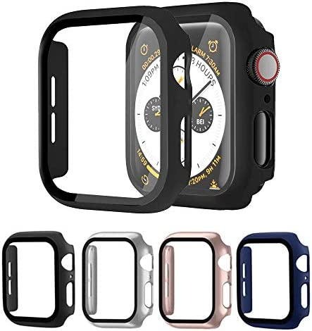 [4 Pack] Raamax Hard PC Case with Tempered Glass Screen Protector Compatible Apple Watch Series SE 6/5/4, Full Coverage Ultra Thin HD Clear Sensitive Touch Cover for iWatch 44mm