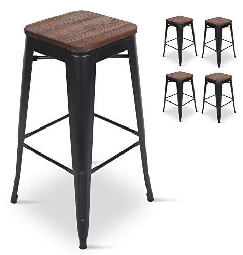 KOSMI - Lot de 4 Tabourets de bar en métal noir mat et assise en bois foncé, Tabouret métal et bois haut hauteur 66cm idéal pour une table de 90cm
