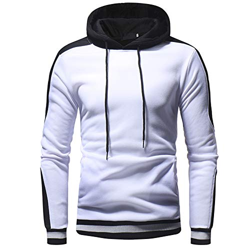 Men's Hooded Sweater Long Sleeve Fashion Hoodie Pullover Sweatshirt Sweat Jacket Casual Cuffs Thread Patchwork with Drawstring Warm Tops Lightweight Fitness Sports Tops