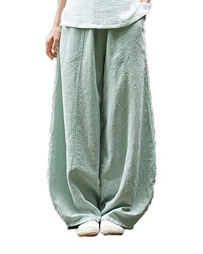 Shaoyao Mujer Pantalones de Lino Pantalón Bombachos Harem de Yoga Pantalones Casuales