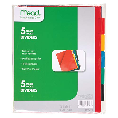 Mead Tab Dividers with Pocket, 3 Hole Punch, Fits 3 Ring Binder, Assorted Colors, 5 Pack (20038)