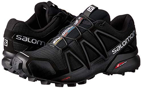 Salomon Women's Speedcross 4 Trail Running Shoes, Black/Black/BLACK METALLIC, 8