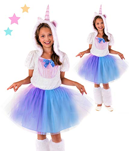 Magicoo Prinzessin Einhorn Kostüm Kinder Mädchen inkl. Kapuze & Beinstulpen - von Gr 110 bis 152 -Faschingskostüm Einhorn Kleid Kind (110/116)