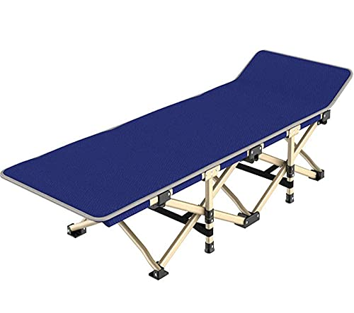 WGFGXQ Relaxer Chair,Deluxe Outdoor Beach Bed, Office Folding Bed, Zero Grand Reniversation, Single Accommodation Bed-Blue_190X37X36Cm
